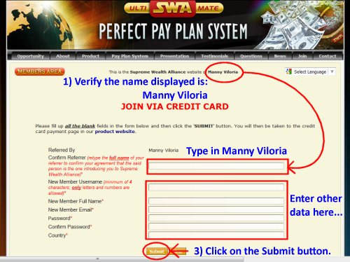 Supreme Wealth Alliance Credit Card Payment Page - Manny Viloria Team